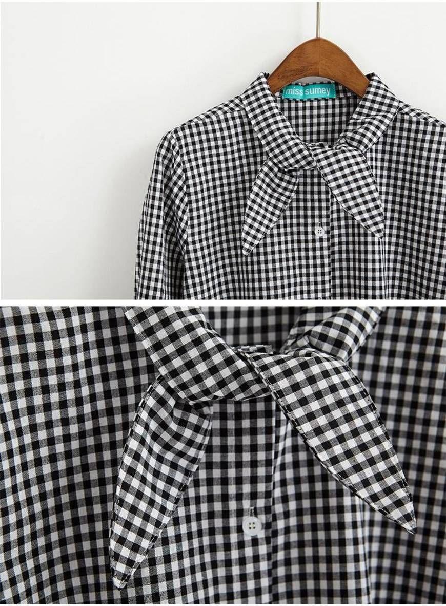 a28378619c224ef Женская рубашка в клетку с кант-бантом.